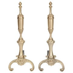 Pair of French 1940s Neoclassical Brass Andirons