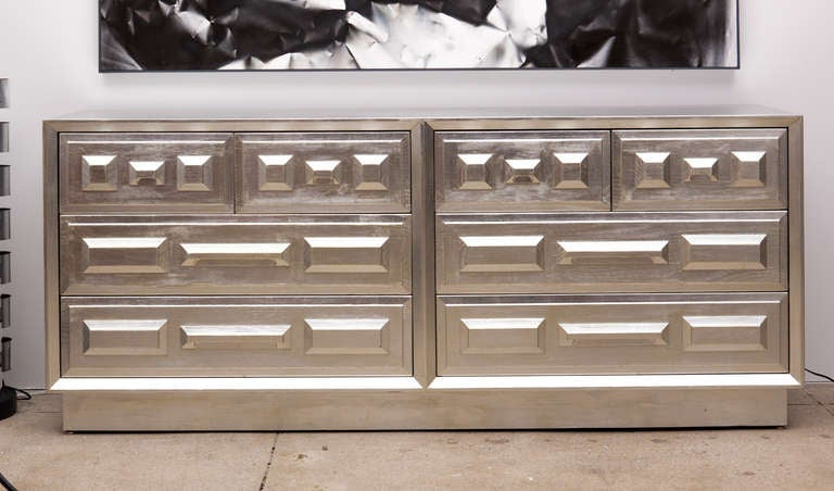 Ultra Luxe Modernist 8 Drawer Dresser With Faceted Rectangular And Square Elements All In Hand Lied