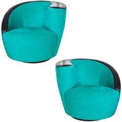 Pair of Swiveling Nautilus Chairs by Vladimir Kagan