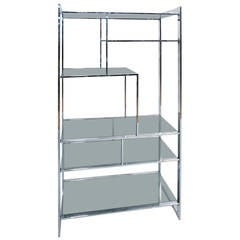Chrome and Smoked Glass Etagere by Design Institute of America