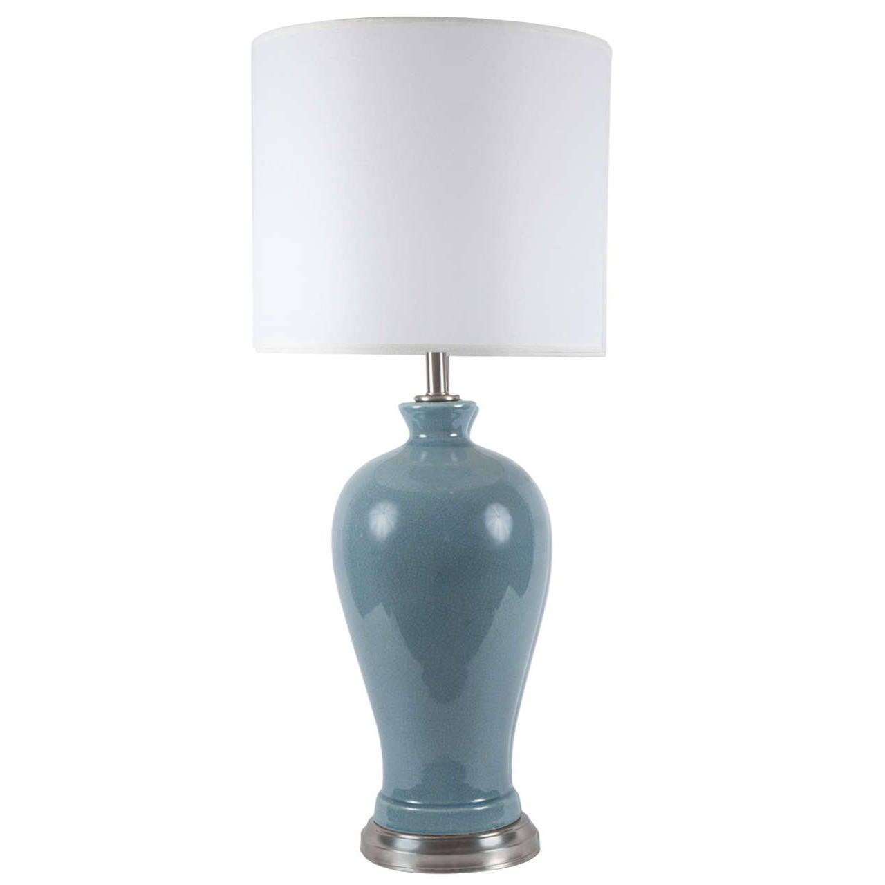 Blue Grey Crackle Glazed Lamp by Paul Hanson