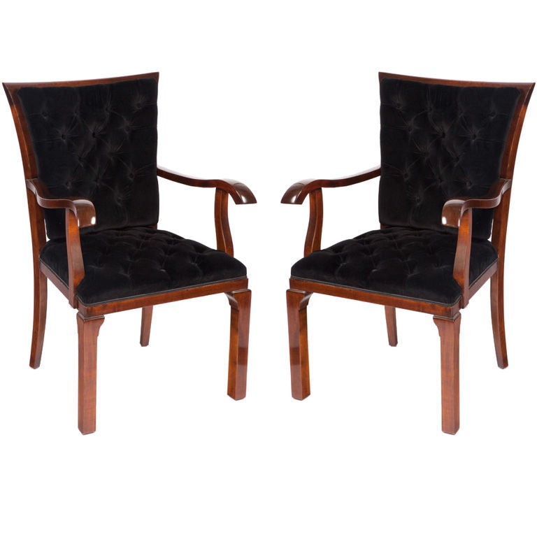Pair of Art Deco Walnut Arm Chairs For Sale