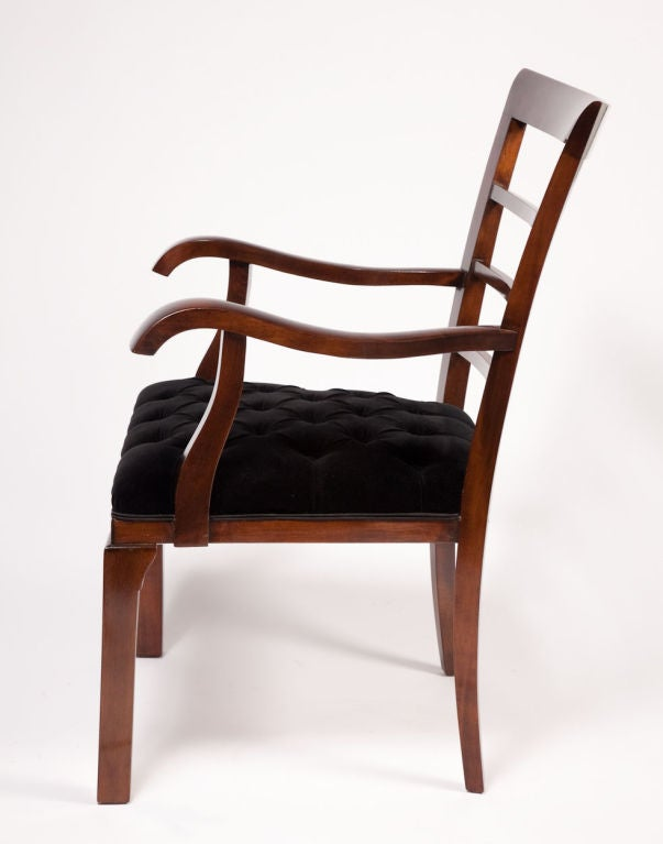 Mid-20th Century Pair of Art Deco Walnut Arm Chairs For Sale