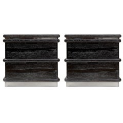 Pair of Cerused Oak Nightstands by Jay Spectre