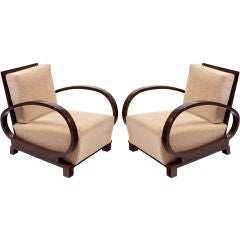 Pair of Art Deco Oval Arm Club Chairs