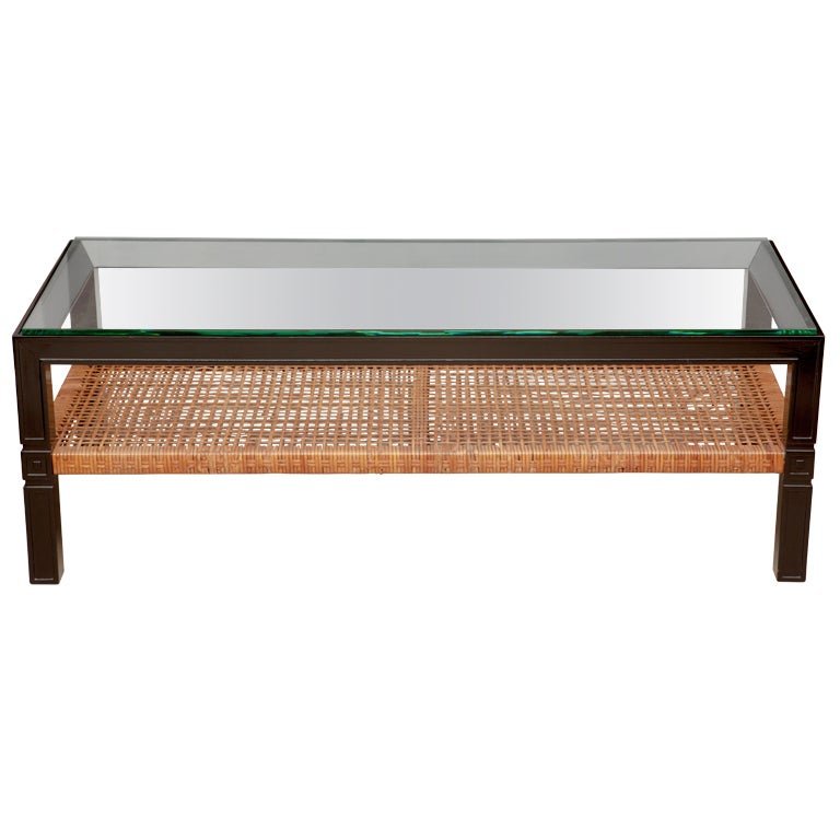 Black Wicker Coffee Table: Tommi Parzinger Black Lacquer And Rattan Coffee Table At