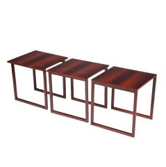 Set of 3 Interlocking Rosewood Tables by Kai Kristiansen