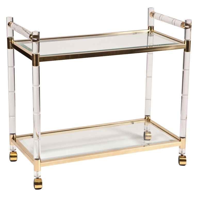 Charles Hollis Jones Stylized Bamboo Lucite And Brass Bar Cart At 1stdibs