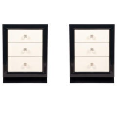 Pair of Modernage Midnight Blue & Ivory Lacquer Nightstands
