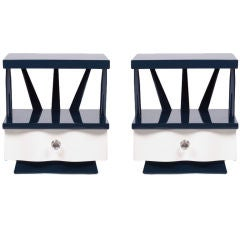 Pair of Modernage Midnight Blue Lacquer Nightstands