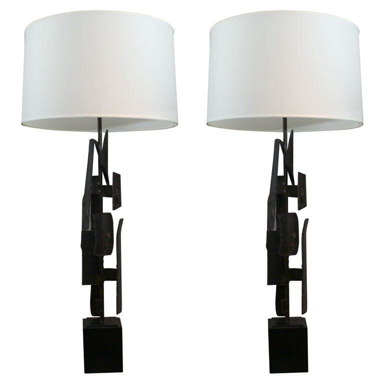 Pair of Blackened Steel Brutalist Lamps by Harry Balmer for Laurel For Sale