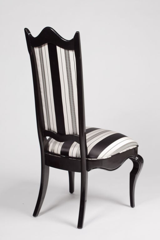 Set Of 4 Italian Black Lacquer Dining Chairs At 1stdibs