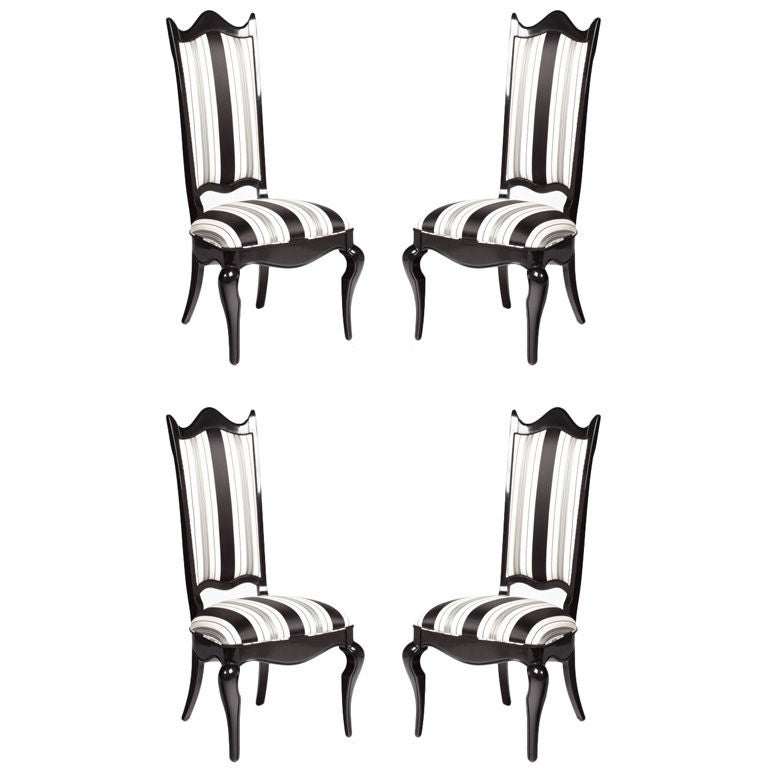 set of four italian black lacquer dining chairs at 1stdibs