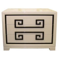 Kittinger Almond Lacquered Greek Key Front Chest