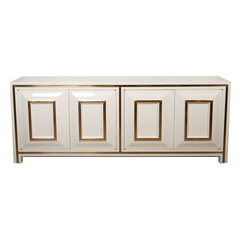 White Lacquer Credenza with Brass Inset by Mastercraft