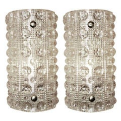 Pair of Orrefors Raised Dot Crystal Sconces