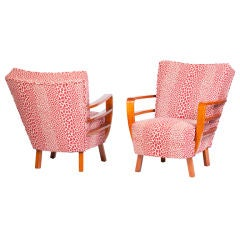 Pair of Art Deco Club Chairs in Leopard Chenille