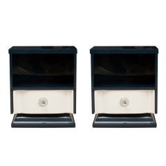 Pair of Art Deco Midnight Blue Lacquer Nightstands