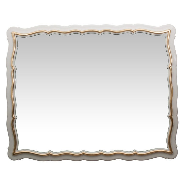 Dorothy draper white lacquer and gold leaf mirror at 1stdibs for White and gold mirror