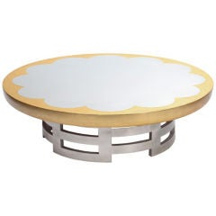 Silver and Gold Leaf Lotus Coffee Table by Muller & Barringer