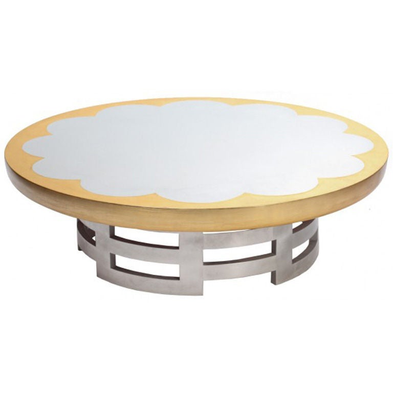 Silver And Gold Leaf Lotus Coffee Table By Muller And Barringer At 1stdibs