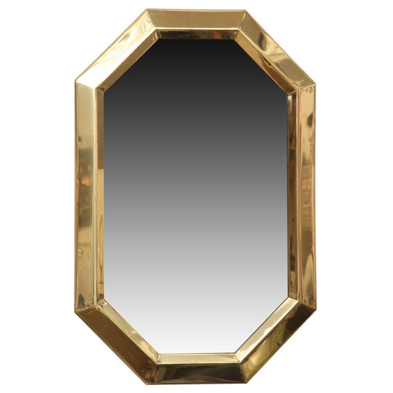 Masteraft Octagonal Brass Framed Mirror at 1stdibs