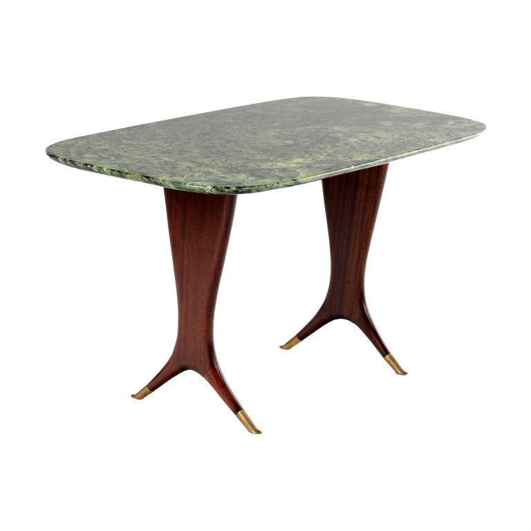 Osvaldo Borsani Green Marble And Walnut Coffee Table At 1stdibs
