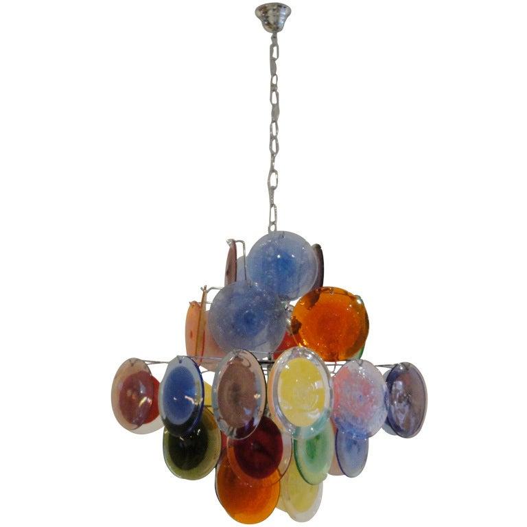 Murano Chandelier Color: Multi Color Vistosi Murano Chandelier At 1stdibs