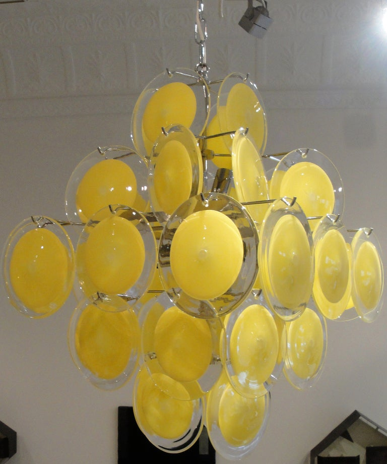 Yellow vistosi murano glass chandelier at 1stdibs mid century modern yellow vistosi murano glass chandelier for sale aloadofball Gallery