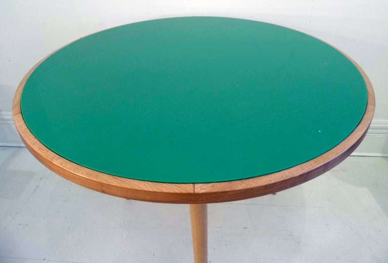 Round Table with Green Glass 6