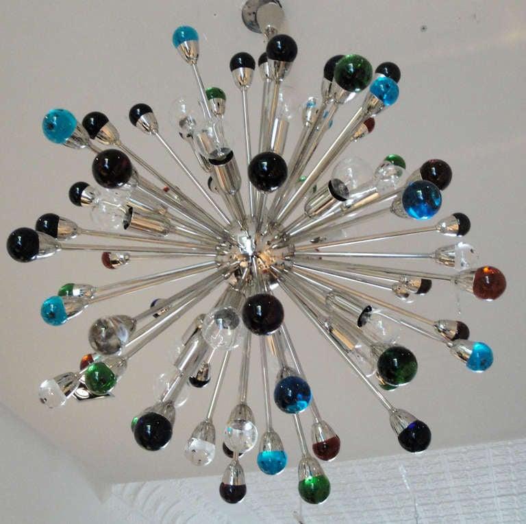 Italian Murano Glass Sputnik Chandelier For Sale
