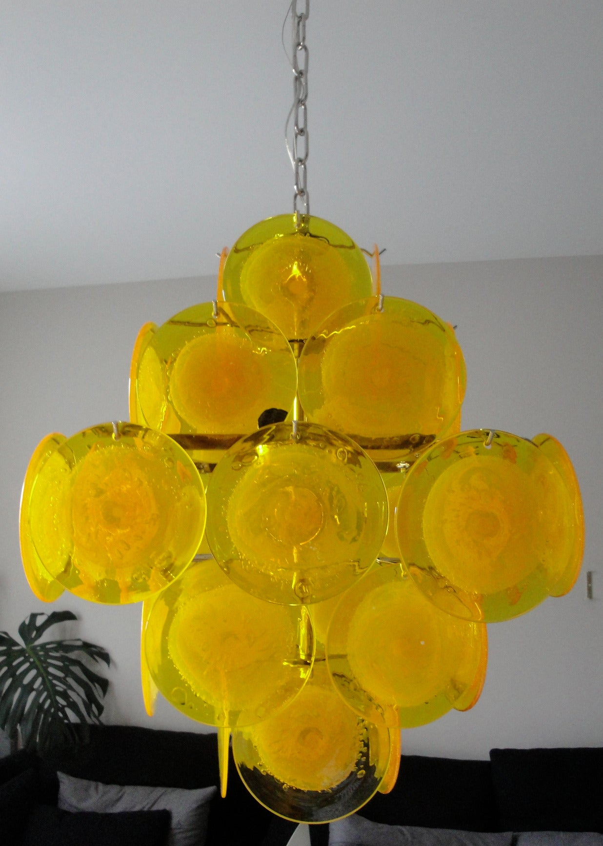 Yellow Murano Glass Chandelier 2