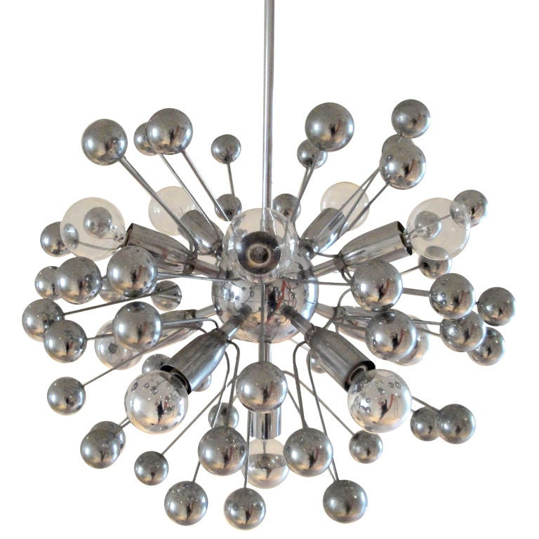 French Chrome Sputnik Chandelier