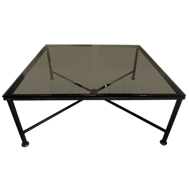 French wrought iron square coffee table at 1stdibs for Square wrought iron coffee table
