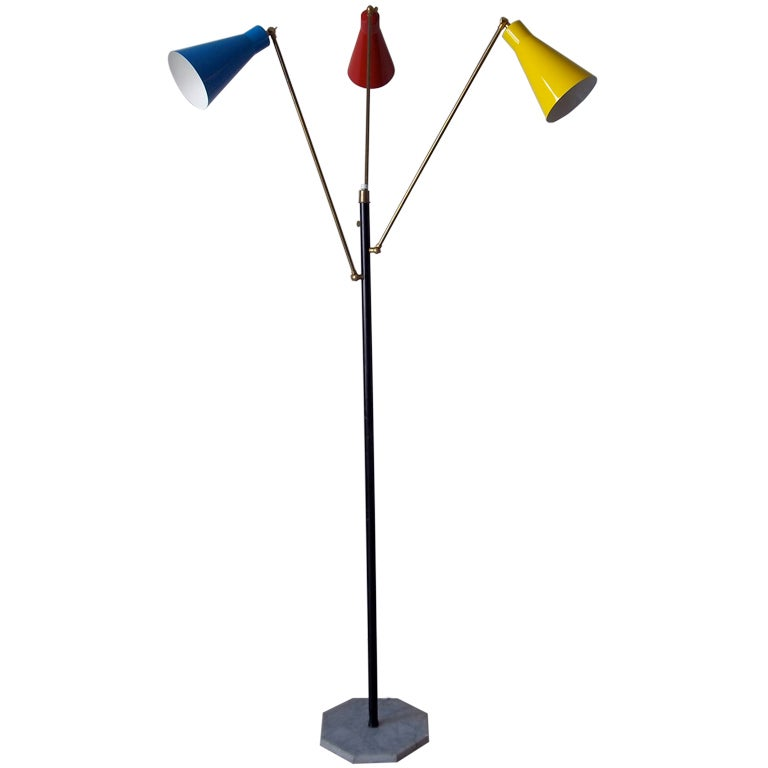 Tri Color Floor Lamp By Stilnovo For Sale At 1stdibs