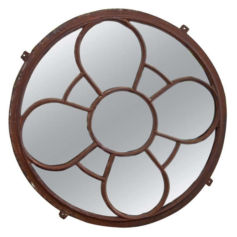 Round metal frame mirror for sale at 1stdibs for Metal frame mirror
