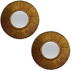 Pair of Gilded Oak Petal Mirrors