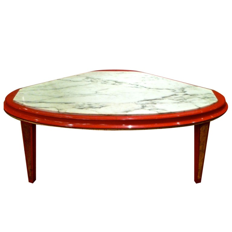 jansen modern red lacquer and gilt marbletop coffee