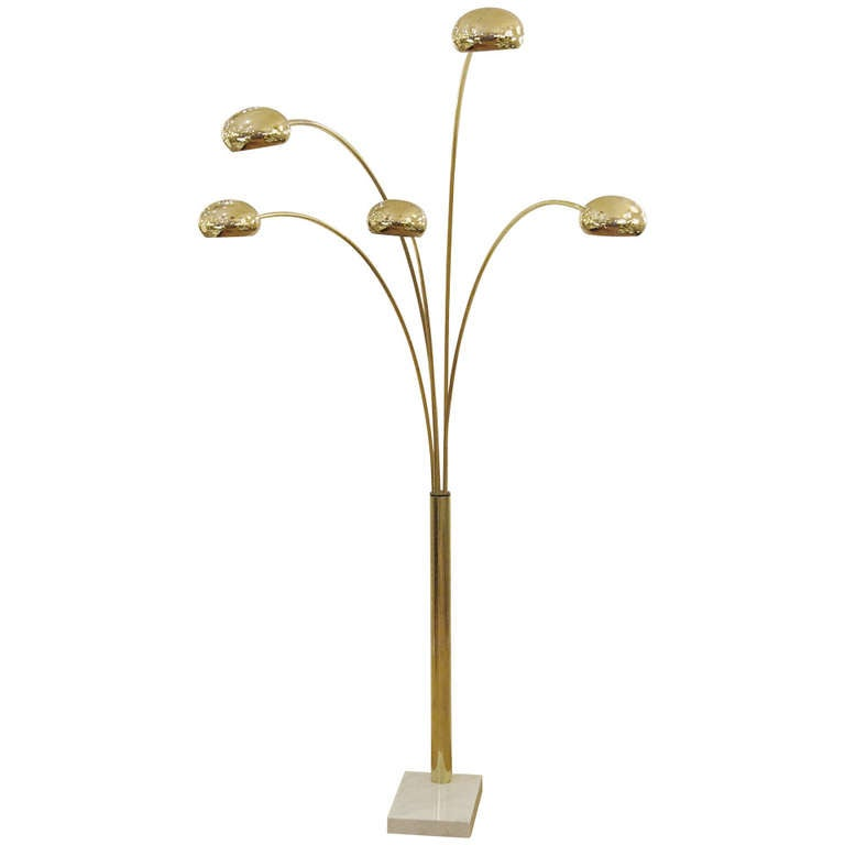Extremely Large 5 Arm Arc Lamp In Brass And Marble