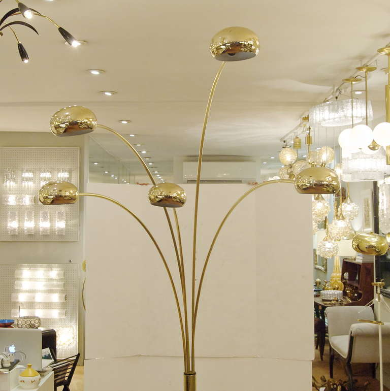 Extremely Large 5 Arm Arc Lamp In Brass And Marble At 1stdibs
