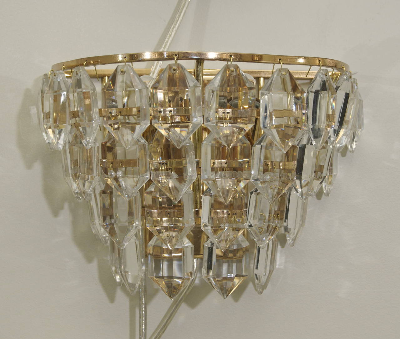 Pair of Multi-Tiered Crystal Gold-Plated Sconces at 1stdibs