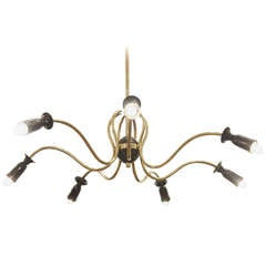 Unusual Stilnovo Style Sinusoidal Chandelier in Brass and Black Enamel