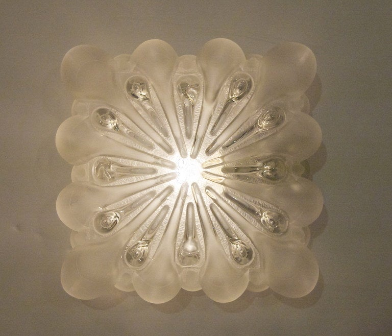 Mid-Century Modern Unique Frosted Bubble Light Flush Mount  For Sale