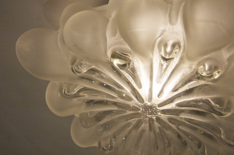 Unique Frosted Bubble Light Flush Mount  In Excellent Condition For Sale In New York, NY
