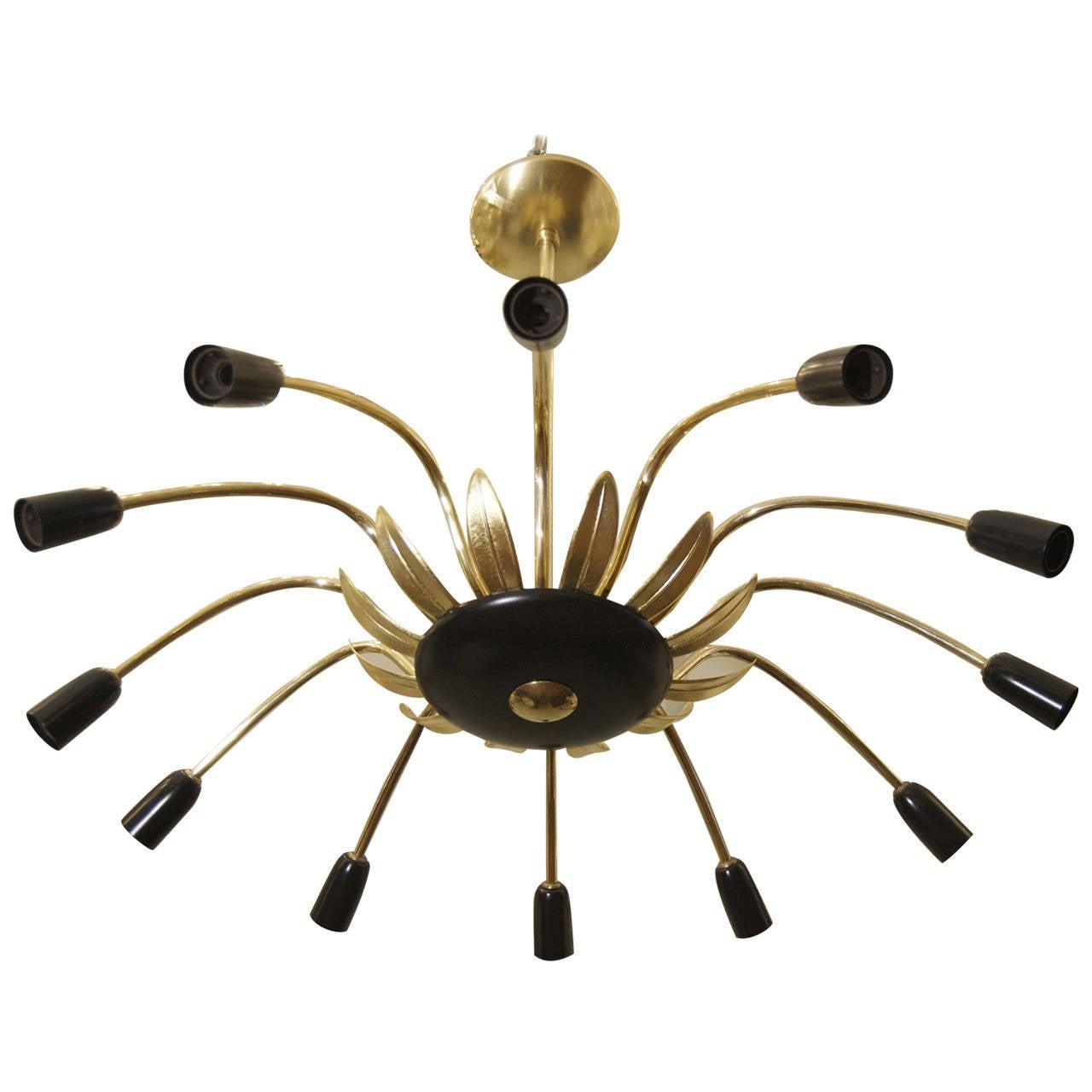 Twelve-Arm Stilnovo Style Chandelier in Black, Gold and Brass