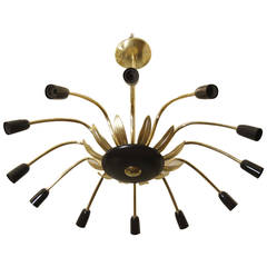 Twelve-Arm Stilnovo Style Chandelier in Black, Gold and Brass