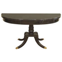 Jansen Black Lacquer Oval Dining Table with Flip Top