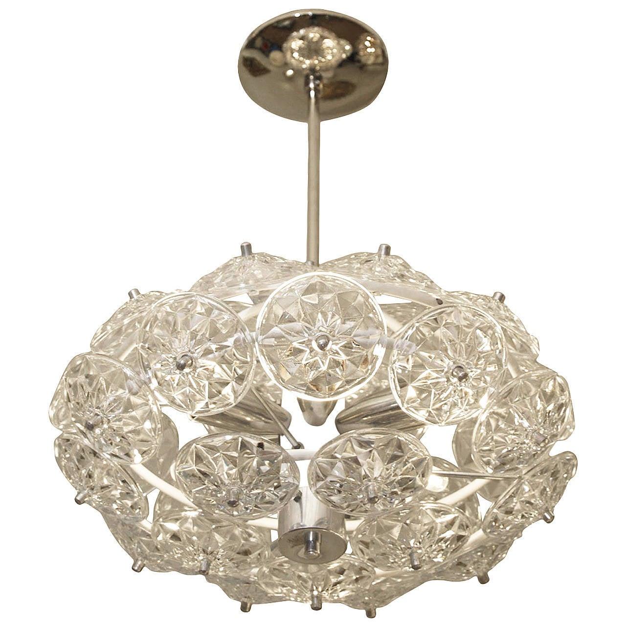 Oval glass sputnik chandelier at 1stdibs for Sputnik chandelier
