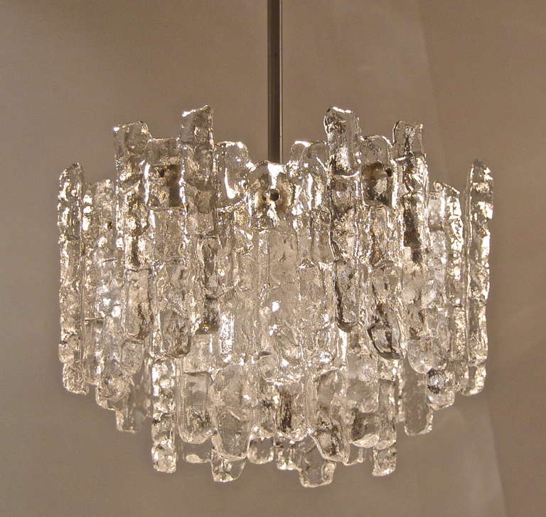 Kalmar ice glass chandelier in two tiers at 1stdibs 18 individual pieces of solid glass in the form of ice radiate from the body in aloadofball Gallery