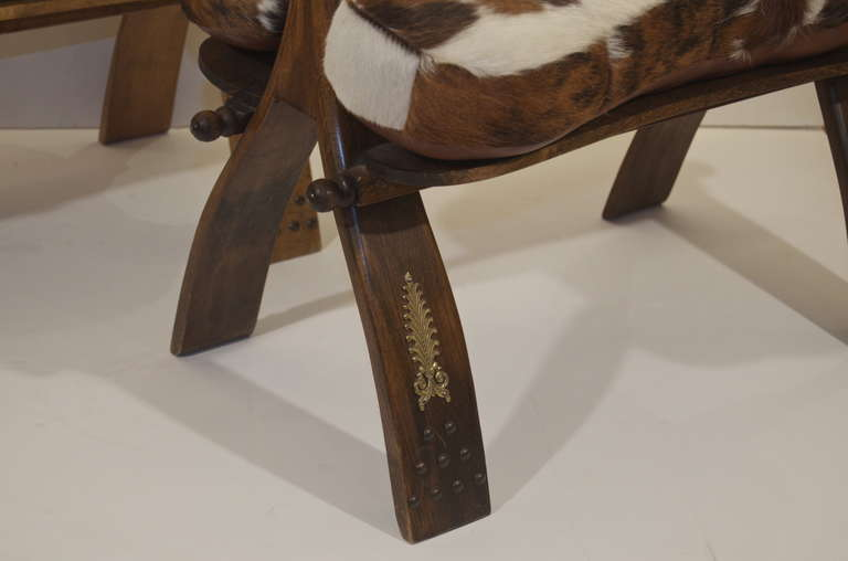 Camel Saddle Stool With Hide And Leather Seat Pair